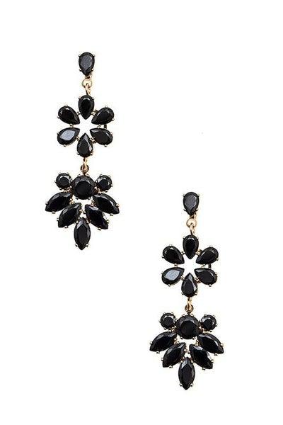 Black Gold Floral Gem Drop Earrings