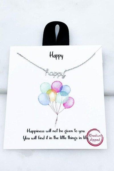 18K White Gold Happy Pendant Necklace
