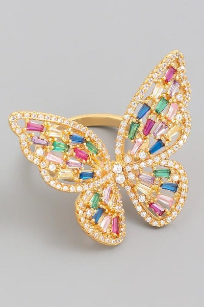 24K Gold Plated Multi Color Crystal Adjustable Butterfly Ring