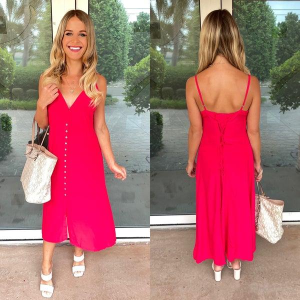 Dark Pink Button Front Back Lace Up Midi Dress | Adjustable Straps