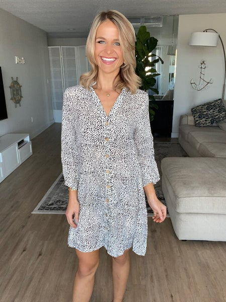 Ivory Printed Button Down V-Neck Tunic Dress