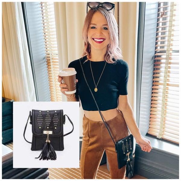 Black Studded Crossbody Swing Bag | Adjustable Length Straps
