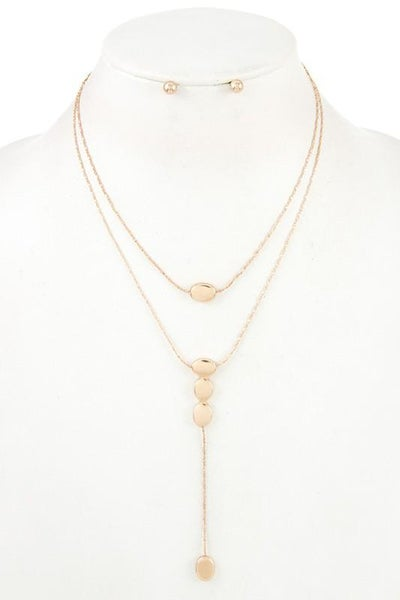Gold Double Layered Pendant Necklace & Earring Set