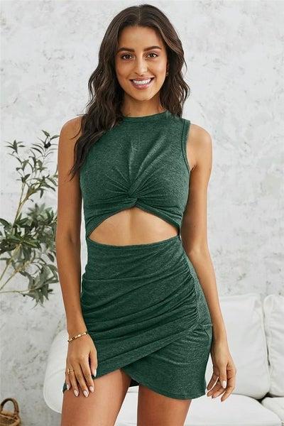 Green Twist Knot Front Cutout Dress