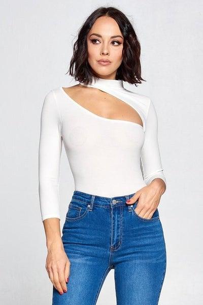 White Asymmetrical Cutout Long Sleeve Bodysuit