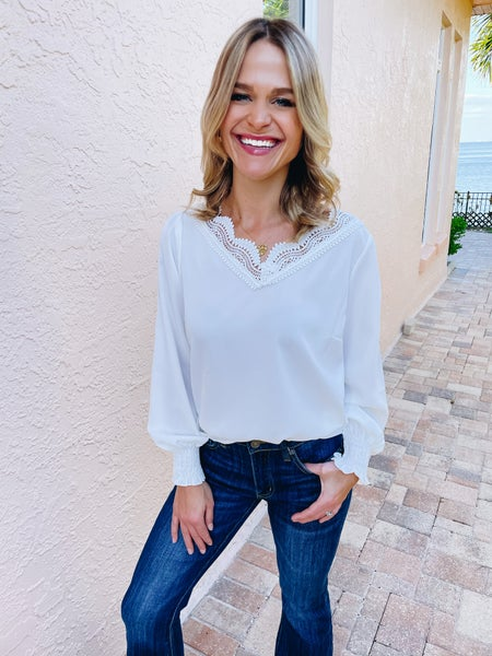 White Crochet Lace Scalloped V-Neck Blouse