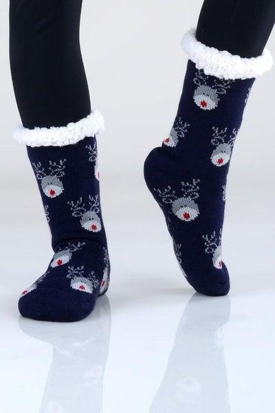 Navy Reindeer Holiday Print Faux Sherpa Slipper Socks