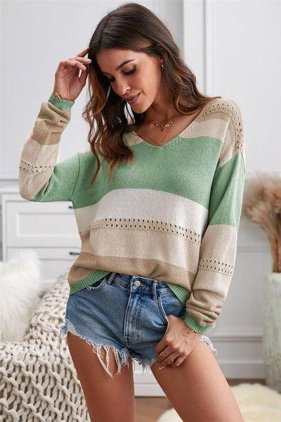Green Color Block Light Knit Spring Neck Top