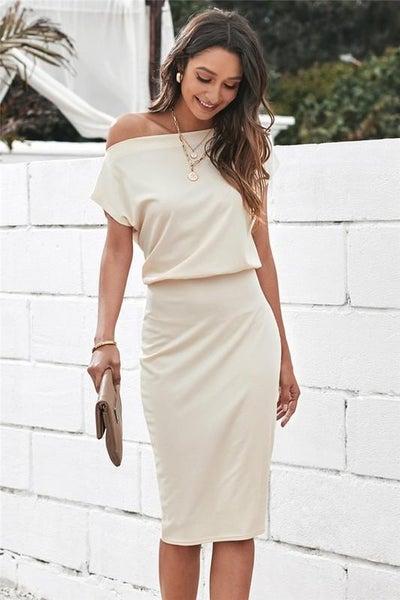 Beige Sabrina Neckline Stretchy Ribbed Midi Dress