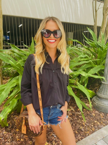 Black Pleated Bust Button Blouse Top