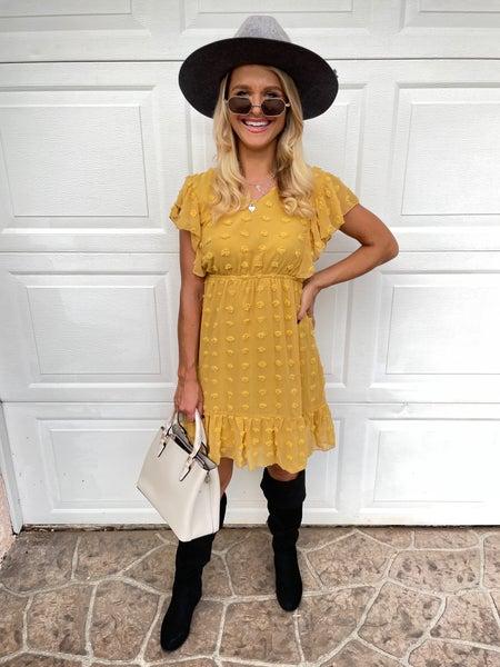 Honey Yellow Swiss Dot Flutter Sleeve Tie Back Dress