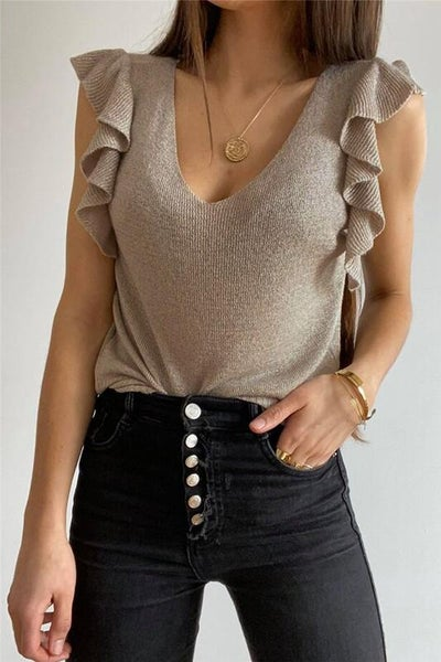 Natural Khaki Cascading Flutter Knit Stretchy Top