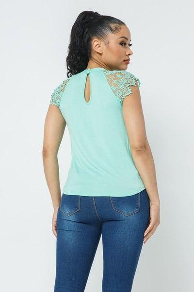 Mint Crochet Lace Trim Keyhole Back Top