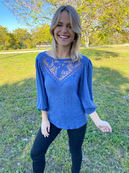 Navy Lace Crochet Detail Top