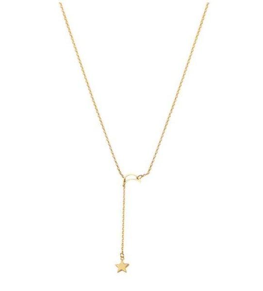 14 Karat Gold Moon & Star Lariat Adjustable Pendant Necklace