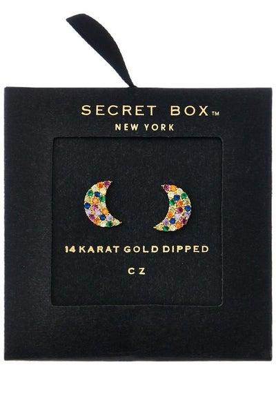 14K Gold Crescent Moon Studded Earrings