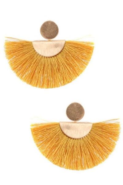 Yellow Tassel Boho Fan Drop Earrings