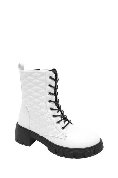 White Quilted Design Lace-Up Combat Boots