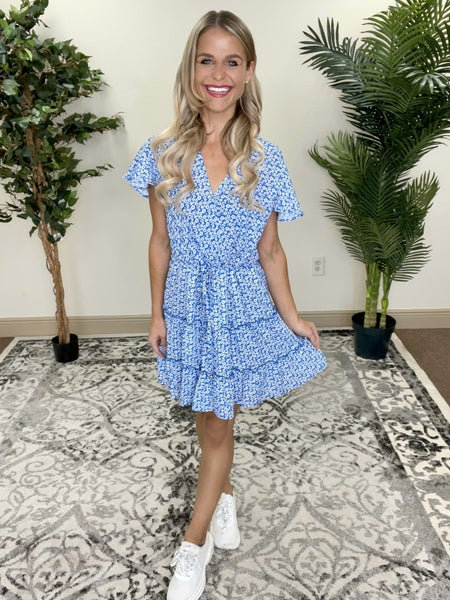Blue Floral Flutter Sleeve Tiered Dress | Adjustable Waist Drawstring