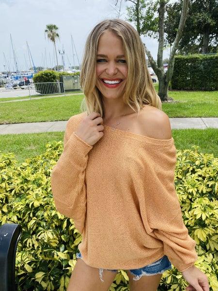 Apricot Dolman Sleeve Knit Lightweight Sweater