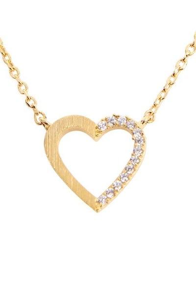 Gold Half Crystal Heart Pendant