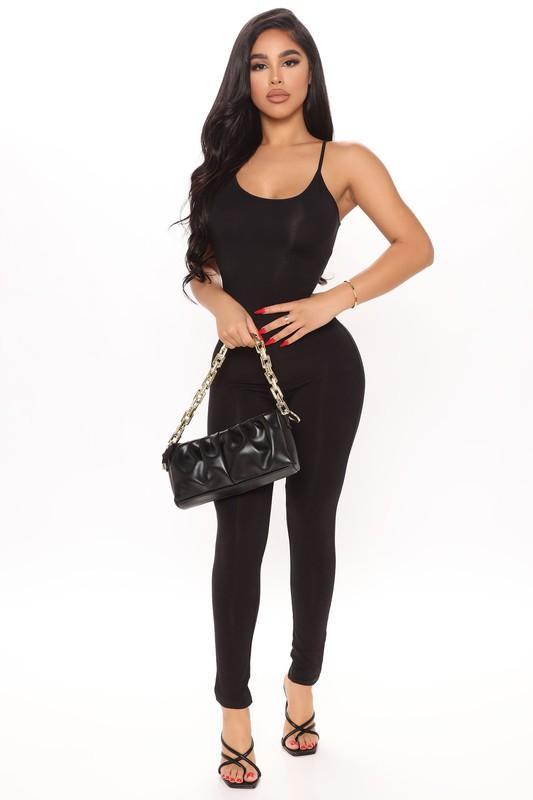 Black Compression Stretchy Sleek Jumpsuit