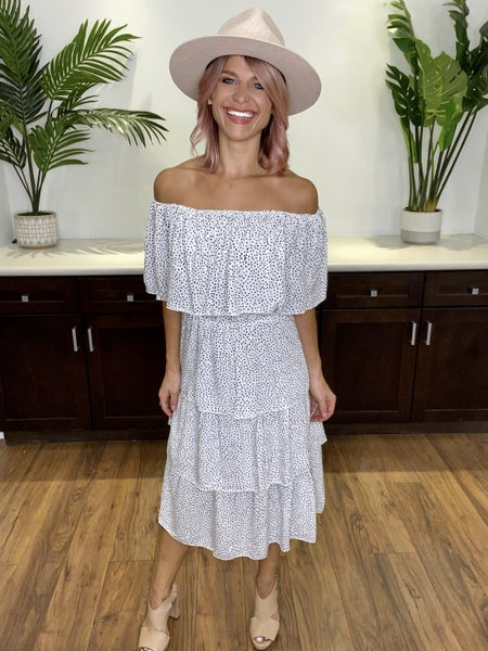 White On-or-Off Shoulder Layered Midi Dress