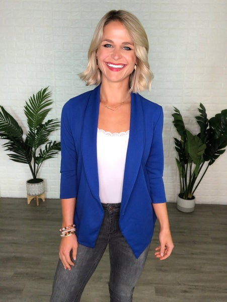 Royal Blue Single Button 3/4 Length Sleeve Blazer Jacket