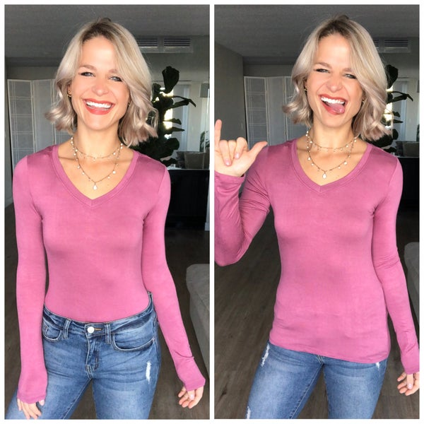 Pink Long Sleeve V-Neck Chill Chick Top
