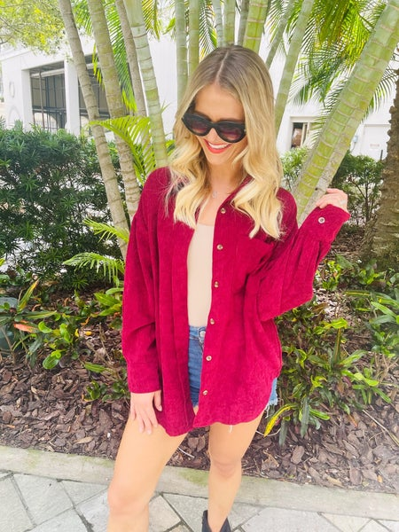 Down for Anything Wine Corduroy Button Pocket Shirt