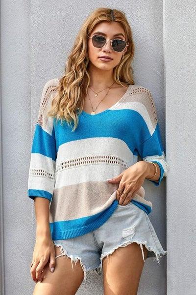 Blue Multi Color Block Quarter Sleeve Light Knit Top