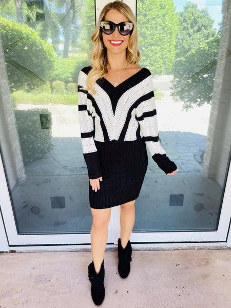 Beauty in Black Luxe Chevron Colorblock Sweater Dress