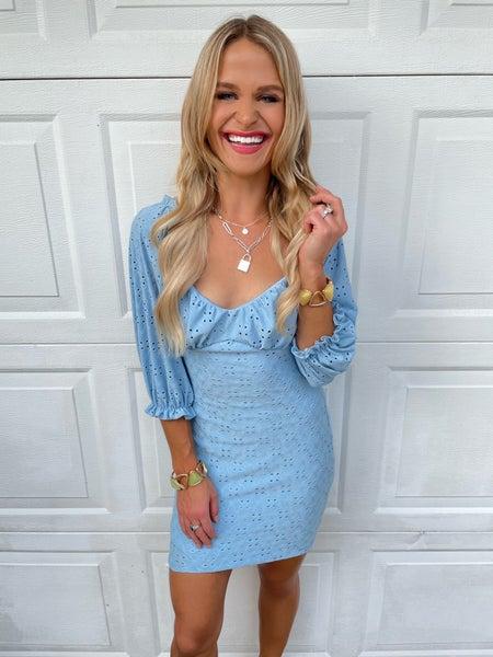 Sky Blue Eyelet Embroidered Lined Dress