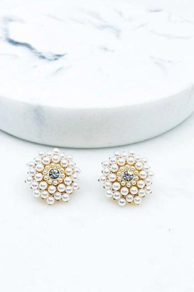 Pearl Cluster Post Earrings