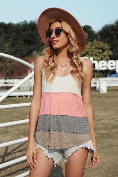 Summer Pink Colorblock Light Knit Tank Top