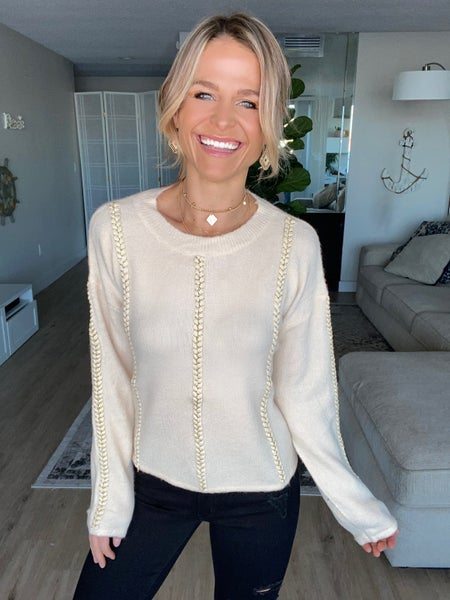 Beige Braided Soft Knit Pullover Top