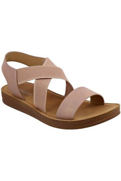 Blush Slip-On Stretch Strappy Comfort Sandals