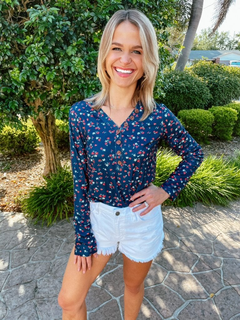 Navy Vintage Floral Button Detail Long Sleeve Top