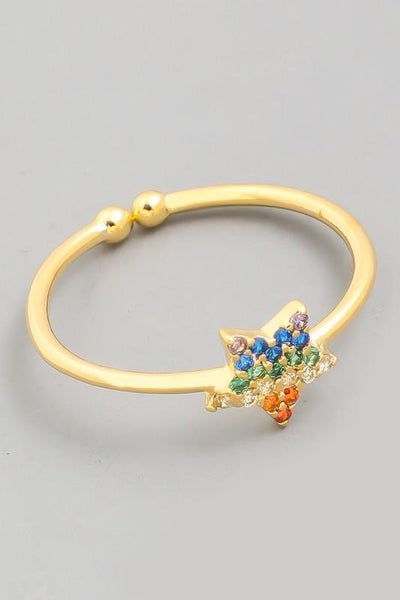 Gold Dainty Star Studded Adjustable Ring