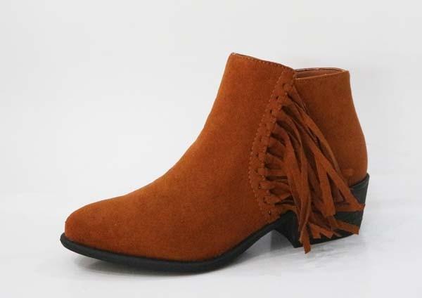 *SALE* Chestnut Fringe Detail Ankle Booties