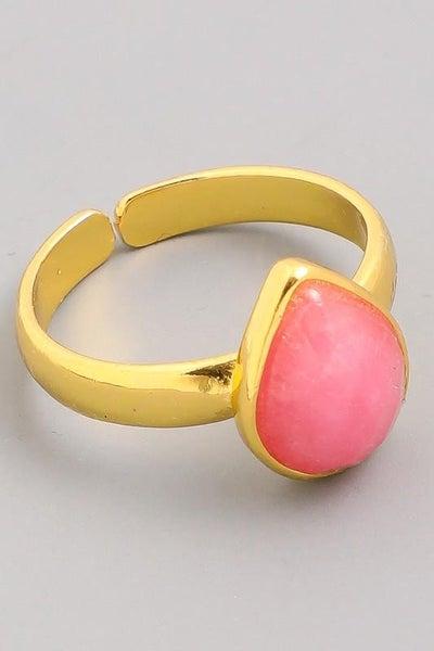 Pink Raindrop Gemstone Ring