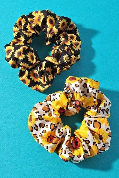 Black & White Sunflower Scrunchie Set (Pack of 2)