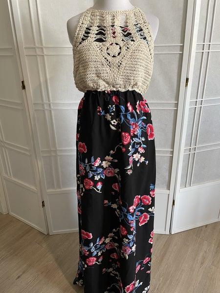 Coachella Crochet Boho Halter Maxi Dress