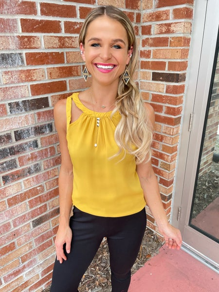 Honey Yellow Strappy Go With the Flow Tank