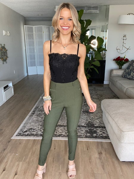 Olive Millennium Skinny Stretch Fit Pull Up Pants