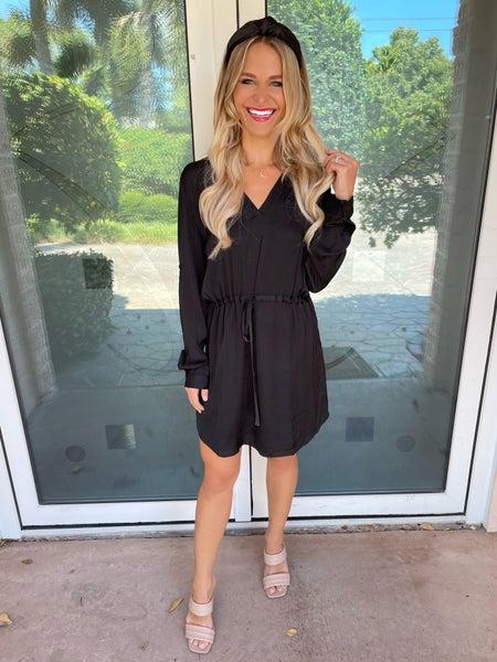 Black Silky & Classy Adjustable Waist Drawstring Dress