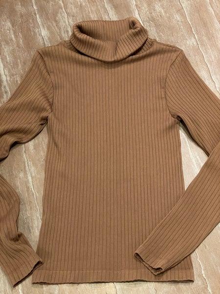 Mocha Ribbed Polo Neckline Stretchy Light Knit Pullover