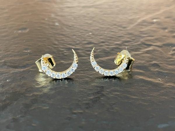 14 Karat Gold Dipped CZ Crescent Moon Earrings