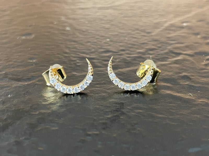14 Karat Gold Dipped CZ Crescent Moon Earrings
