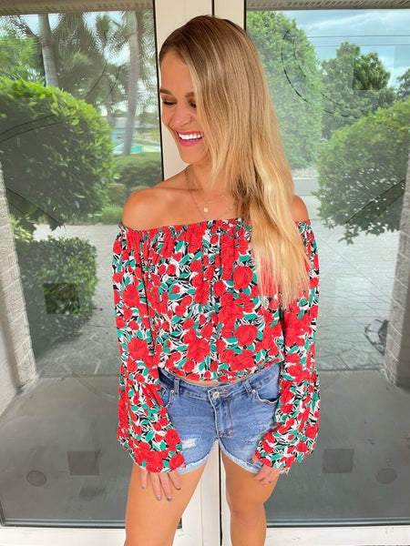 Bohemian Bombshell Red Off Shoulder Floral Long Sleeve Top